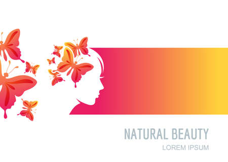 Female face on colorful background. Woman with butterflies in hair. Vector label, package background, banner, flyer design elements. Trendy concept for beauty salon, massage, spa, natural cosmetics.