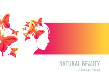 Twarz kobiety na kolorowym tle. Kobieta z motylami we włosach. Wektor etykiety, opakowania tło, transparent, elementy projektu ulotki. Koncepcja Trendy w salonie piękności, masaż, spa, kosmetyki naturalne.