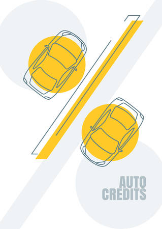 car bills: Vehicle credit, vector design concept for banner, business presentation, poster. Outline automobile and percent symbol. Abstract financial or marketing background. Car linear icon.
