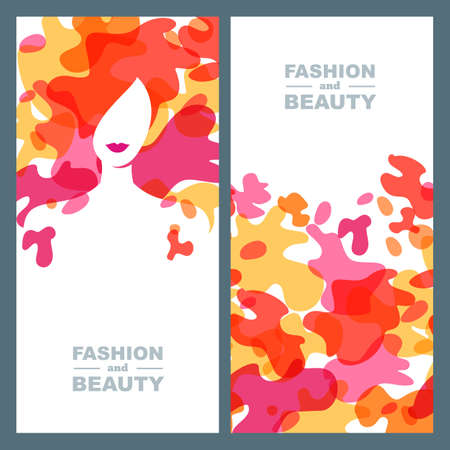 hairdos: Female face on abstract splash background. Woman with colorful hair. Set of vector label, package background, banner, poster, flyer design elements. Concept for beauty salon, makeup, hairstyle.