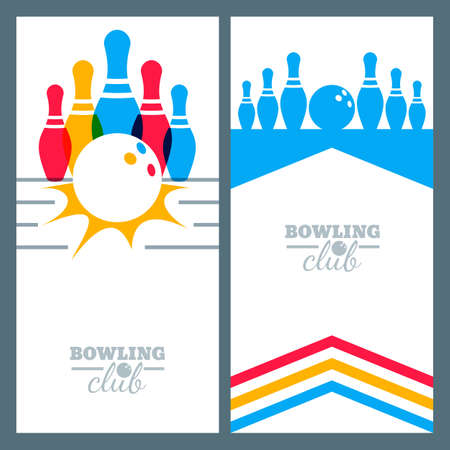 Set of bowling banner backgrounds, poster, flyer or label design elements. Abstract vector illustration of bowling game. Colorful bowling ball, bowling pins. Vettoriali