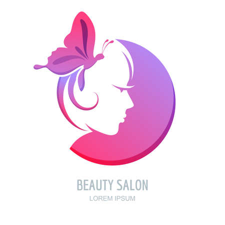 Female profile in circle shape. Woman with purple butterfly in hair. Vector beauty logo, label design elements. Woman face symbol. Trendy concept for beauty salon, massage, spa, natural cosmetics. Illustration