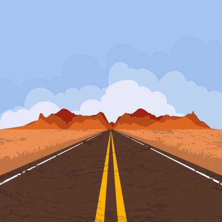 desert road: Vector illustration of highway in desert and mountains. Summer landscape with empty road and blue sky. Country street road, flat style illustration. Nature background.