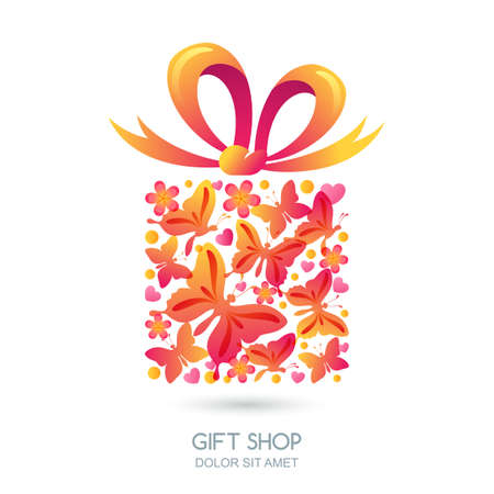 gift shop: Gift box with butterflies, hearts and bow ribbon. Colorful holiday illustration. Vector logo, label, design elements for holidays cards and gift shop. Illustration