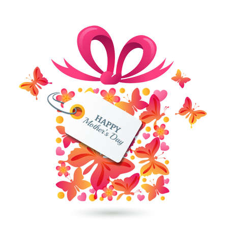 greating card: Happy Mothers Day vector greating card template. Gift box with butterflies, hearts, bow ribbon and tag. Colorful holiday illustration.