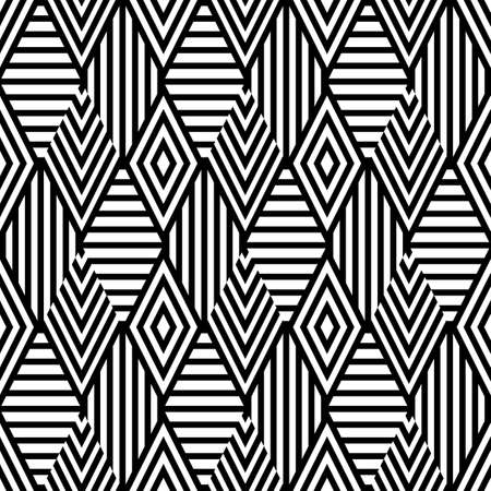fashion background: Vector seamless pattern with black and white striped rhombus. Abstract universal background. Trendy design for fashion textile print, wrapping paper, web background, package. Illustration