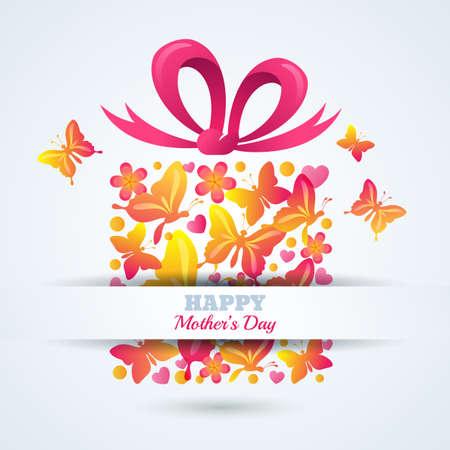 Plantilla de la tarjeta de felicitación del vector para el día de madres de vacaciones. Caja de regalo con mariposas, corazones y arco de la cinta en el fondo blanco. Ilustración de vacaciones. Día de la Madre Fondo de la tarjeta de regalo.