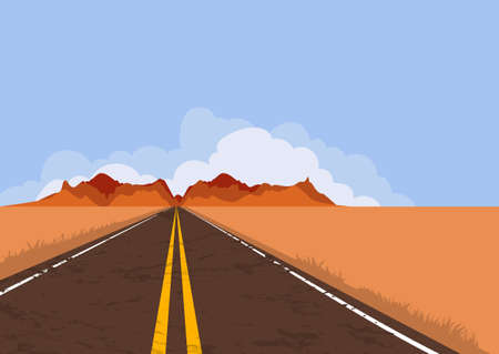 panoramic nature: Road in desert and mountains. Summer or autumn panoramic landscape with empty highway and blue sky. Country street road, flat style illustration. Nature vector background with copy space. Illustration
