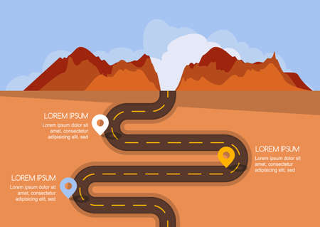 rural road: Road with markers, vector infographics template. Winding road in desert and mountains. Rural empty street, flat style illustration. Summer or autumn landscape. Nature background with space for text.