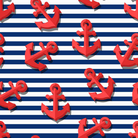 Vector seamless pattern with 3d stylized red anchors and blue navy stripes. Summer marine striped background.  Design for fashion textile print, wrapping paper, web background. Anchor flat symbol.