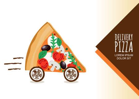 restaurante italiano: Diseño del vector para la entrega de pizza, menú de un restaurante italiano, cafetería, pizzería. Pizza con ruedas, aislado en fondo blanco. Rebanada de pizza con tomate, aceitunas, champiñones. símbolo de la entrega de comida rápida.