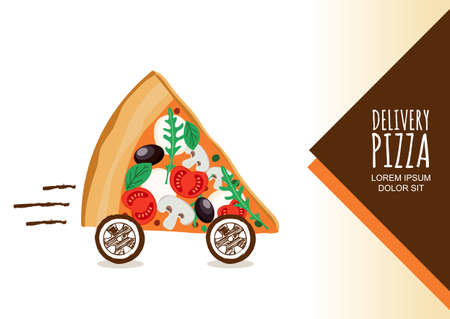 Vector design for pizza delivery, italian restaurant menu, cafe, pizzeria. Pizza with wheels, isolated on white background. Slice of pizza with tomato, olives, mushrooms. Fast food delivery symbol.