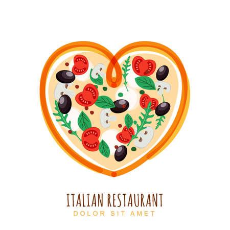 Illustrazione disegnata a mano di pizza italiana a forma di cuore. Modello di progettazione logo cibo vettoriale. Pizza con pomodoro, funghi, olive, mozzarella. Concetto per, menu del ristorante, caffetteria, fast food, pizzeria.