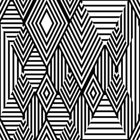 repeat texture: Vector black and white ethnic seamless pattern with striped rhombus. Abstract tribal background. Trendy design for fashion textile print, wrapping paper, web background, package.