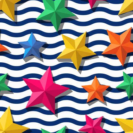 Modelo inconsútil del vector con las estrellas estilizadas y 3d y rayas onduladas azules. Verano rayas de fondo marino. Diseño para la impresión de moda textil, papel de regalo, fondo de la web. estrellas de mar multicolor. Ilustración de vector