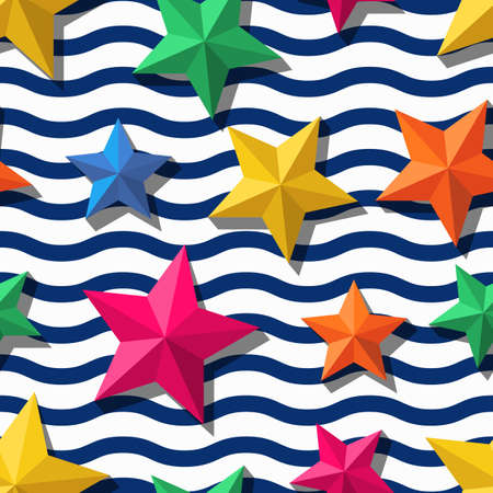 stars and stripes background: Vector seamless pattern with 3d stylized stars and and blue wavy stripes. Summer marine striped background.  Design for fashion textile print, wrapping paper, web background. Multicolor starfishes.