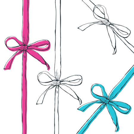 Set di vettore nastri dell'arco contorno disegnati a mano, isolato su sfondo bianco. Nero, bianco, rosa, fiocchi Doodle blu e nastri. Regalo, vacanza, simbolo decorazione ed elementi di design. Vettoriali