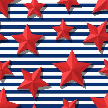 Vector seamless pattern avec 3d étoiles rouges stylisées et rayures bleu marine. Été rayé marine fond. Conception pour l'impression textile de la mode, du papier d'emballage, web background. symbole plat étoile.