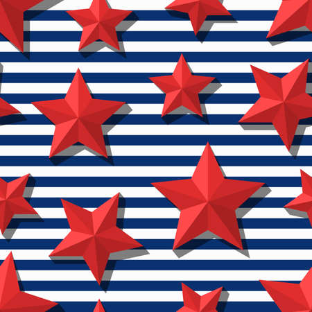 Vector seamless pattern with 3d stylized red stars and blue navy stripes. Summer marine striped background. Design for fashion textile print, wrapping paper, web background. Star flat symbol.