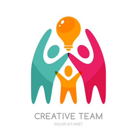 creativity symbol: Vector human logo, emblem design elements. Abstract multicolor people and light bulb. Concept for education, business technology, development, creativity, teamwork. Isolated human symbol. Illustration