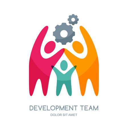 team building: Vector human logo design elements. Abstract multicolor people and gear cog. Concept for education, business technology, development, creativity, teamwork, team building. Isolated human symbol. Illustration