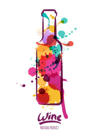 wine and food: Vector watercolor illustration of colorful wine bottle and hand drawn lettering. Abstract watercolor background. Design concept for wine label, wine list, menu, party poster, alcohol drinks.