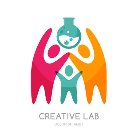 creativity symbol: Vector human logo or emblem design. Abstract people carry flask. Concept for education and science, business technology, development, creativity, teamwork, research laboratory. Isolated human symbol.
