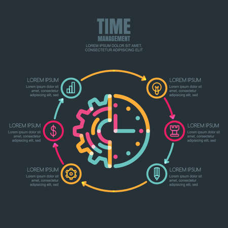 controlling: Time management and planning, business  infographics design template. Gear cog and clock linear symbol and business icons set. Abstract outline illustration on black background. Illustration