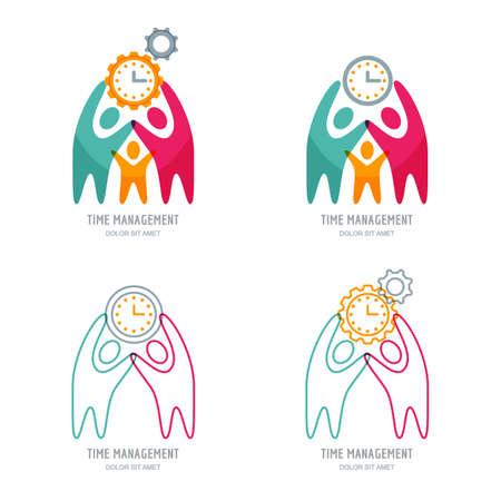 La gestión del tiempo y el concepto de planificación de negocios. logo vector o línea de conjunto de iconos con los humanos, rueda dentada y el reloj. Resumen ilustración de las personas y el trabajo en equipo o la gestión de proyectos. Logos