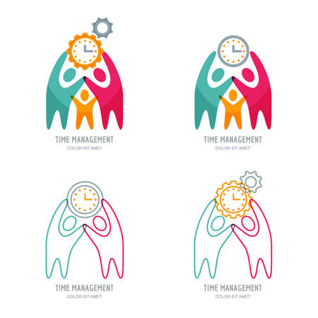 Time management and planning business concept. Vector logo or line icons set with human, cogwheel and clock. Abstract illustration of people and team work or project management. Vectores
