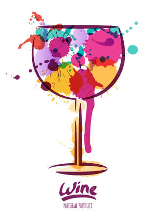 oenology: Vector watercolor illustration of colorful wine glass and hand drawn lettering. Abstract watercolor background. Design concept for wine label, wine list, menu, party poster, alcohol drinks. Illustration