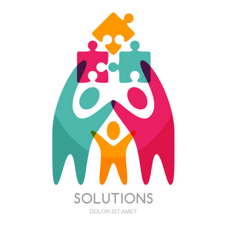 solutions: Vector logo with human and puzzle. Concept for business solutions, team building, consulting, project management, strategy and development. Abstract illustration of people and successful team work.