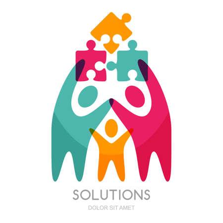 Vektor-Logo mit Mensch und Puzzle. Konzept für Business-Lösungen, Teambildung, Beratung, Projektmanagement, Strategie und Entwicklung. Zusammenfassung Darstellung von Menschen und erfolgreiche Teamarbeit.