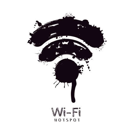 hotspot: Vector watercolor illustration of wi-fi icon. Abstract black watercolor or ink splashes and blots. Free wi-fi hotspot, isolated monochrome sign. Creative internet symbol. Wireless connection.