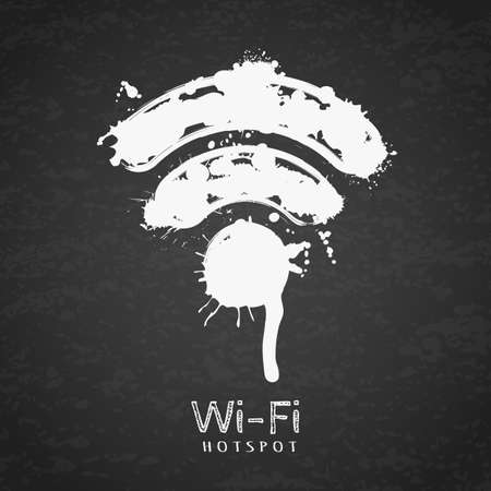 hotspot: Vector watercolor illustration of wi-fi zone icon on black chalkboard background. Free wi-fi hotspot, hand drawn sign. Creative internet symbol. Wireless connection.