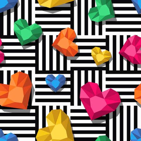 Diamanten, Edelsteine ??in Herzform auf schwarz weißen Streifen, nahtlose Muster. 3D-Juwelen. Abstrakt Universal-Hintergrund. Entwurf für Mode Textildruck, Geschenkpapier, abstrakt Web-Hintergrund.