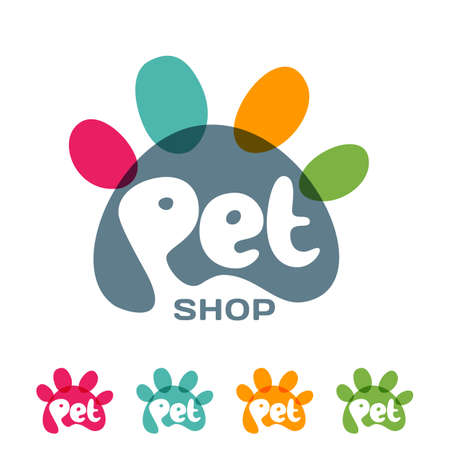 shop for animals: emblem, label design elements for pet shop, zoo shop, pets care and goods for animals.  lettering in paw shape. Pet store signboard concept with.