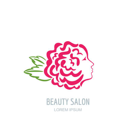 abstract rose: Female profile face in rose flower shape. Woman with rose petals in hair. beauty floral  sign, label design. Concept for beauty salon, massage, spa, natural cosmetics, hairstyle.