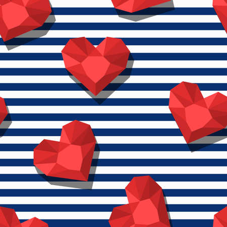 blue stripes: seamless pattern with red gem stones in heart shape and blue stripes. 3d stylized hearts and diamonds. Abstract background. Design for fashion textile print, wrapping paper, web background.