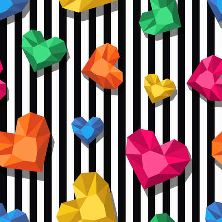 geometric shapes: seamless pattern. Multicolor jewel, gems in heart shape on black, white stripes. 3d stylized hearts and diamonds. Design for fashion textile print, wrapping paper, abstract web background.