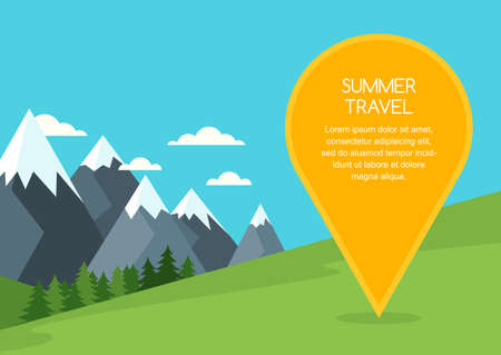 waypoint: Summer or spring mountains landscape, background. Pin mapping mark with place for text. Nature background with green meadow, pine forest, mountains, travel marker. Travel and tourism concept.