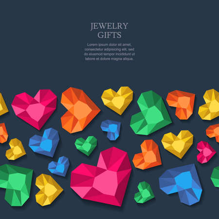 diamonds on black: seamless black background with multicolor heart diamonds, gems, jewels. Design for jewelry shop, accessories, prints. Abstract background for holiday, poster, web, gift cards.