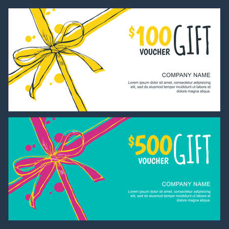 gift vouchers with bow ribbons, white and blue backgrounds. Creative holiday cards or banners. Design concept for gift coupon, invitation, certificate,  ticket. Vettoriali