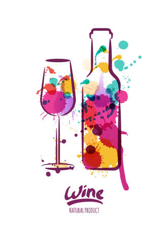 watercolor illustration of colorful wine bottle and wine glass. Abstract watercolor background. Design concept for wine label, wine list, menu, party poster, alcohol drinks.