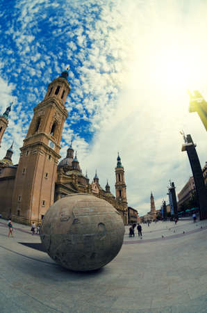 center city: Zaragoza, Spain - September 14, 2015: Zaragoza historical center, fisheye lens view. Our Lady of the Pillar Basilica and old city square. Editorial