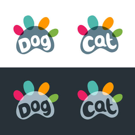 shop for animals: Vector logo, emblem, label design elements for pet shop, zoo shop, pets care and goods for animals. Hand drawn lettering in paw shape. Cat and dog multicolor paws. Pet store signboard concept.