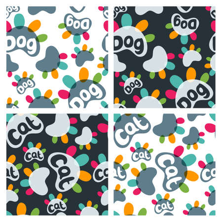 pet shop: Set of vector seamless pattern with colorful cat and dog paws and hand drawn letters. Concept for pet shop, zoo shop, pets care and goods for animals.