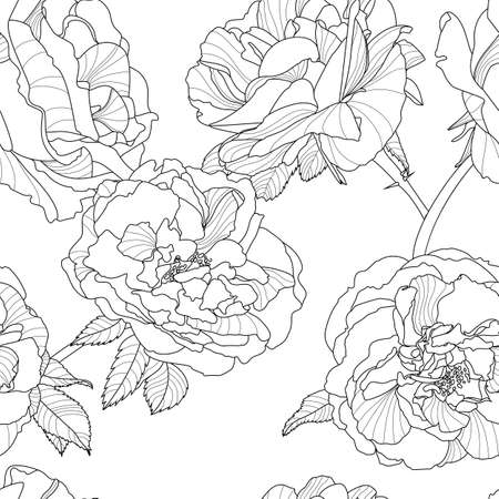 Vector floral seamless pattern. Black and white background with outline hand drawn rose flowers. Design concept for fabric design, textile print, wrapping paper or web backgrounds.