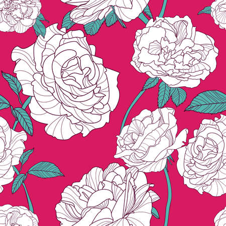 fabric pattern: Vector summer background with white outline rose flowers. Floral seamless pattern. Hand drawn roses. Design concept for fabric design, textile print, wrapping paper or web backgrounds.