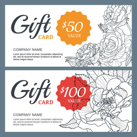 Vector gift voucher template with roses flowers.